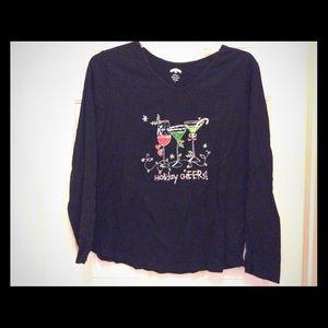 Holiday Time black 2X Christmas long sleeve tee.